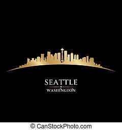 シアトル, 黒い背景, スカイライン, 都市, washington のシルエット