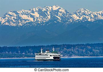 シアトル, bainbridge 島, 自動車, フェリー, puget 音, オリンピック, 雪, 山, ワシントン州, 太平洋北西部