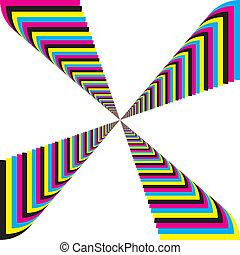 シアン, マゼンタ, 黄色, 黒, cmyk, 見通し, 円形にされる, コーナー, 階段, 背景