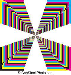 シアン, マゼンタ, 黄色, 黒, cmyk, 見通し, 円形にされる, コーナー, 階段, 背景, 2