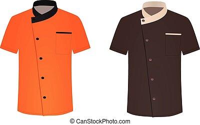 シェフ, コック, ワイシャツ, uniform.