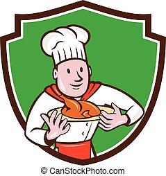 シェフ, コック, 焼き肉, 皿, 鶏, 頂上, 漫画