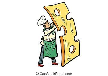 シェフ, チーズ, わずかしか, 小片