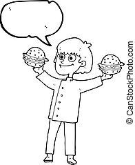 シェフ, バーガー, スピーチ, 漫画, 泡