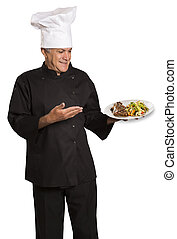 シェフ, プレート, 肉, 保有物, 焼かれた