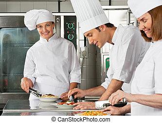 シェフ, 同僚, 女性, 仕事, 台所
