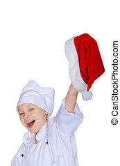 シェフ, 朗らかである, 女の子, 帽子, santa