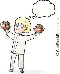 シェフ, 考え泡, 漫画, バーガー