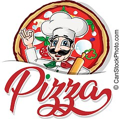 シェフ, 背景, 面白い, 紋章, ピザ, イタリア語