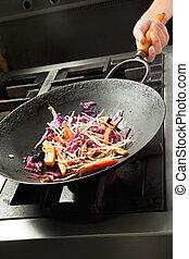 シェフ, 野菜, 料理, 中華なべ