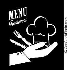 シェフ, cutlery, イラスト, ベクトル, 帽子, デザイン
