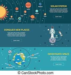 システム, セット, 旗, 太陽, 平ら