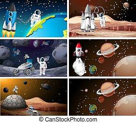 システム, 太陽, 現場, 宇宙飛行士, セット