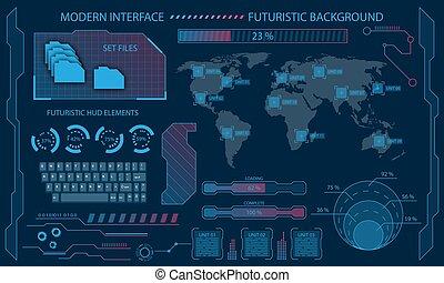 システム, 未来派, ダッシュボード, 視覚化, 科学, インターフェイス, 技術, infographic, ...