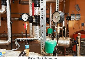 システム, equipments, 加熱, ボイラー 部屋