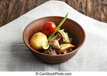 シチュー, プレート, 野菜