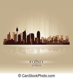 シドニー, オーストラリア, スカイライン, 都市, シルエット