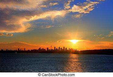 シドニー, シルエット, 都市, 太陽, 上に, 港, 設定