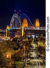 シドニー, 夜, ∥に向かって∥, 下方に, 道, 橋, 港, 光景