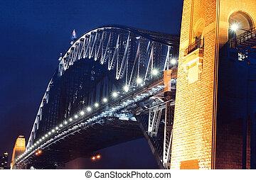 シドニー 港 橋, 夜で