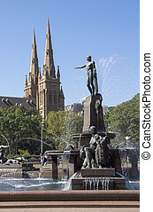 シドニー, st., メアリーの, archibald, 噴水, 大聖堂