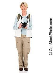 シニア, カメラ, 観光客