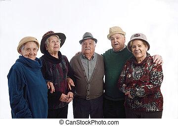 シニア, グループ, 帽子, 人々