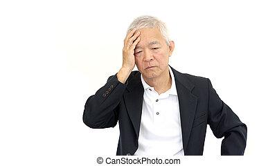 シニア, ビジネスマン, ストレス, アジア人, 心配しなさい