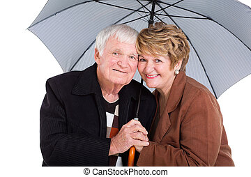 シニア, 下に, 傘, 夫婦