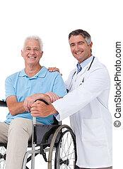 シニア, 医者, 患者, 車椅子