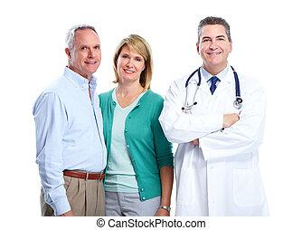 シニア, 患者, カップル。, 医者