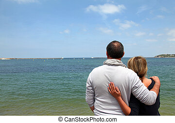 シニア, 楽しむ, 恋人, 海の 眺め
