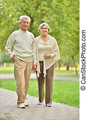 シニア, 歩くこと, 公園, 屋外のカップル