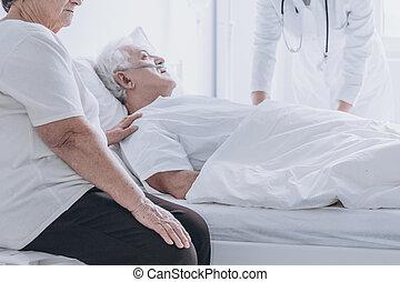 シニア, 病院, 死, 人