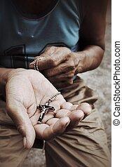 シニア, 祈ること, 交差点, 人, 手