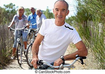 シニア, 自転車, 人々