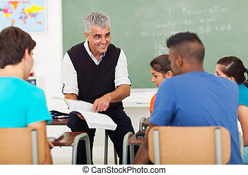 シニア, 高校教師, 教授, 中に, 教室