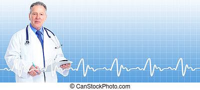 シニア, cardiologist., 医者