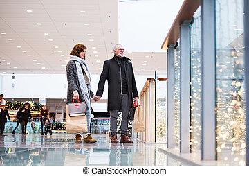 シニア, shopping., 恋人, クリスマス