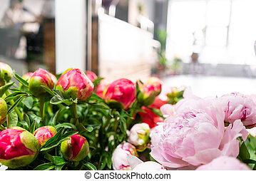 シャクヤク, 夏, 花, 仕事, 背景, 家族, 人々, 花, shop., 専門職, business., 出産, 花束, 小さい, 前景, florist., bouquet.