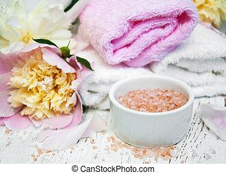 シャクヤク, 花, タオル, 塩