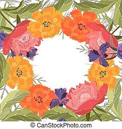 シャクヤク, card., tagetes., マリーゴールド, ベクトル, 花, フレーム, アイリス