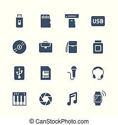 シャッター, ラップトップ, シンセサイザ, 小道具, ドライブしなさい, sim, usb, カード, フラッシュ, カメラ, 記憶, エレクトロニクス, アイコン, 痛みなさい, cd, 腕時計, 読者, ヘッドホン, カード, マイクロフォン, set:, hdd, トナー, 袋