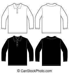 シャツの袖, 長い間, 黒, テンプレート, ポロ, デザイン, 白