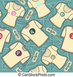 シャツ, パターン, 手ざわり, t, seamless, 背景, ベクトル, fashion.