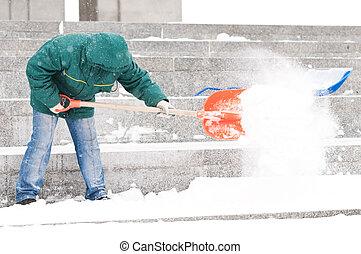 シャベルで掘ること, 人, 雪, 冬