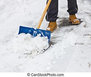 シャベルで掘ること, 雪