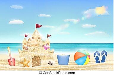 シャベル, バケツ, 砂, ボール, 海, 城浜