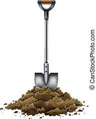 シャベル, 園芸 用具, 仕事, 隔離された, 白, 地面
