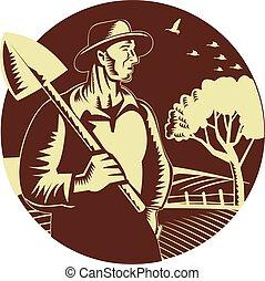 シャベル, 有機体である, 木版, 農場, 保有物, 農夫, 円
